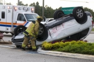 overturned vehicle after auto accident